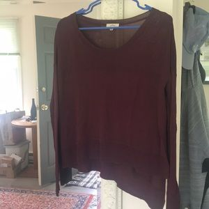 Aritzia burgundy long sleeve shirt asymmetrical